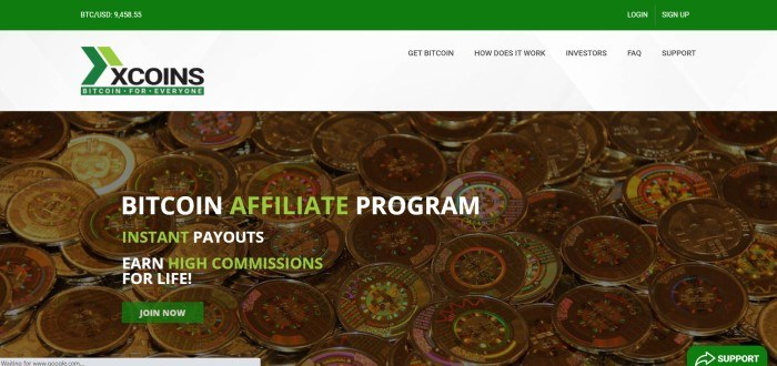 This screenshot of the home page for Xcoins has a green header, a white navigation bar, and a photo of gold coins behind white and green text and a green call to action button.