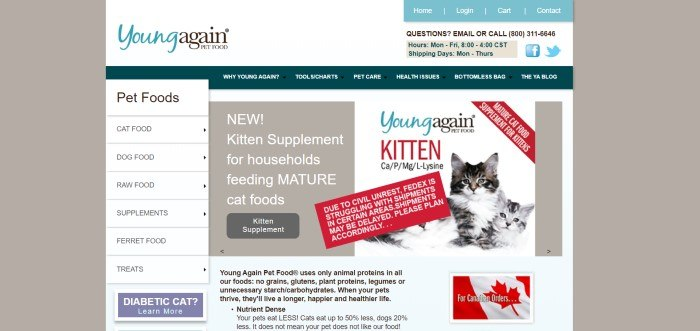 This screenshot for the home page of Young Again Pet Food has a gray background, a blue navigation bar in the upper right corner, a dark green navigation bar below a white header, and a main section with a white background, a white category list on the left side, a gray announcement section with white text in the center, and a white announcement section with a photo of two gray and white cats on the right side.