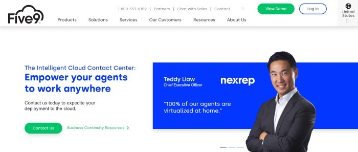 This screenshot of the home page for Five9 has a white navigation bar with a green call to action button above a light gray main section with blue and black text on the left side of the page, along with a green call to action button, and a blue section with white text and a photo of a smiling man in a business suit on the right side of the page.