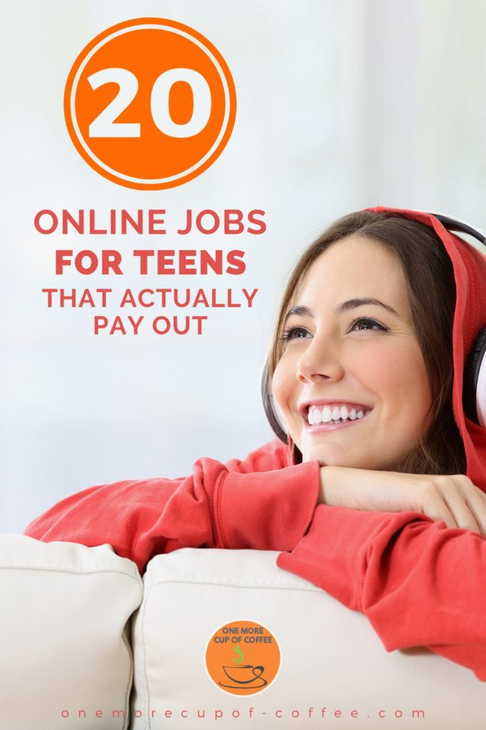"""girl in read sweater with headphones on sitting on a couch, overlay text """"20 Online Jobs For Teens That Actually Pay Out"""""""