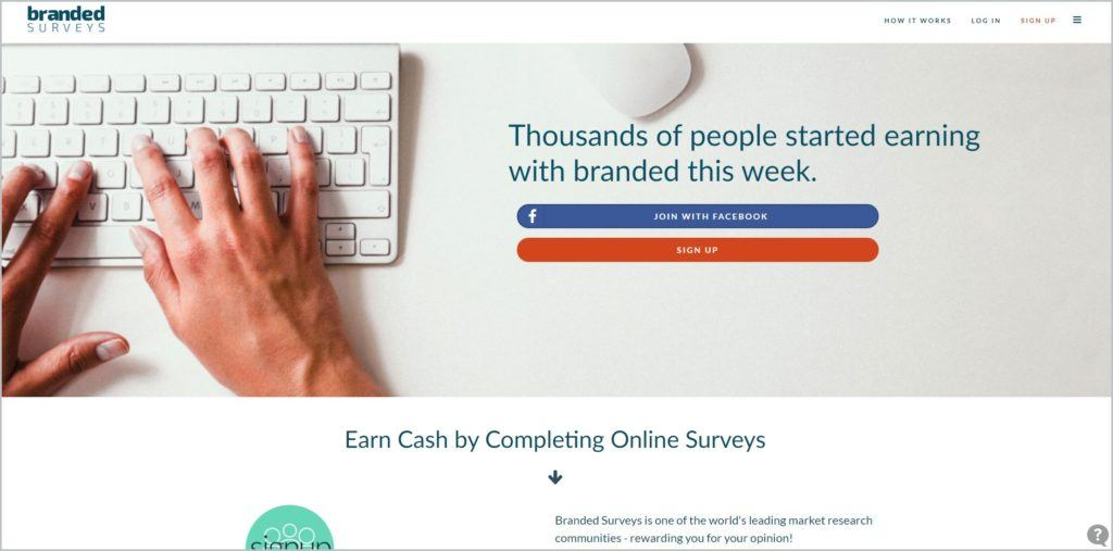 screenshot of Branded Surveys web page