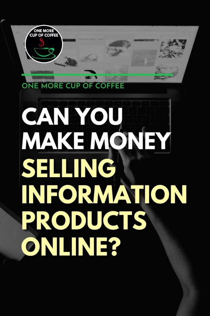 """black and white top view image on an open laptop with hand holding a pen, with text overlay """"Can You Make Money Selling Information Products Online?"""""""