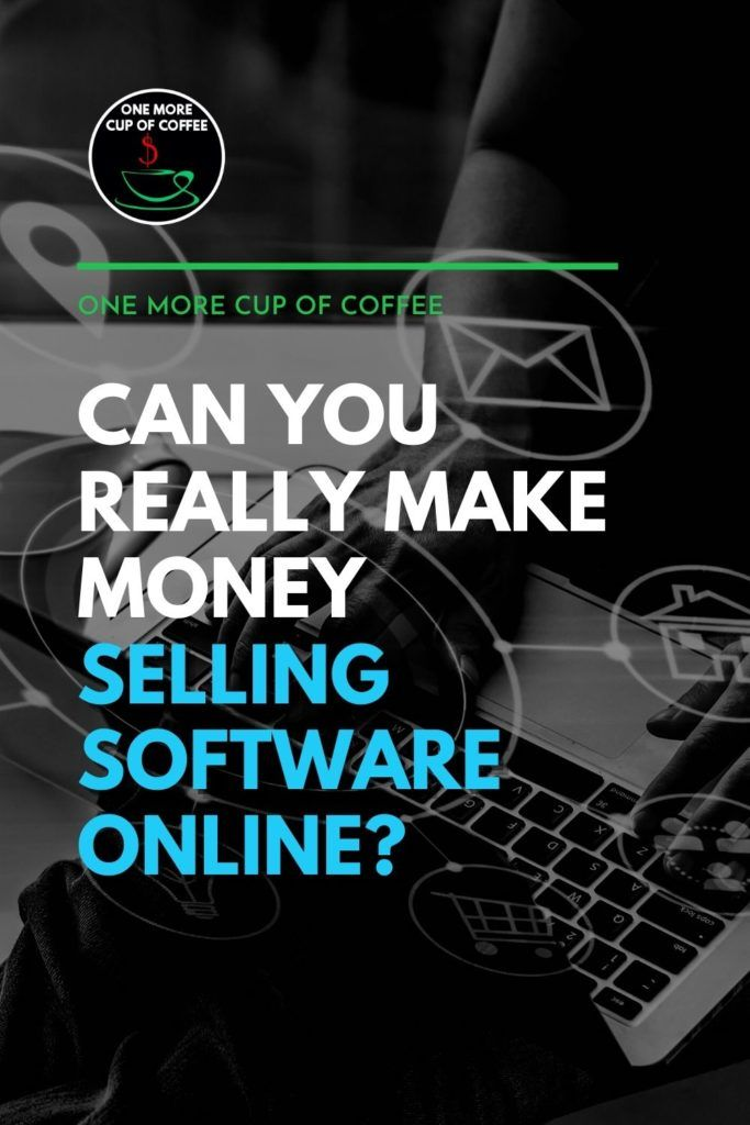 """black and white closeup image of hands working on laptop, with text overlay """"Can You Really Make Money Selling Software Online?"""""""