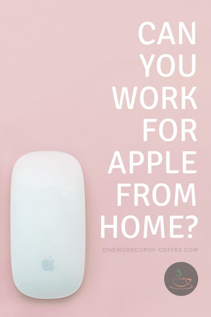 """apple mouse on a pink background with white bold text, """"Can You Work For Apple From Home"""""""