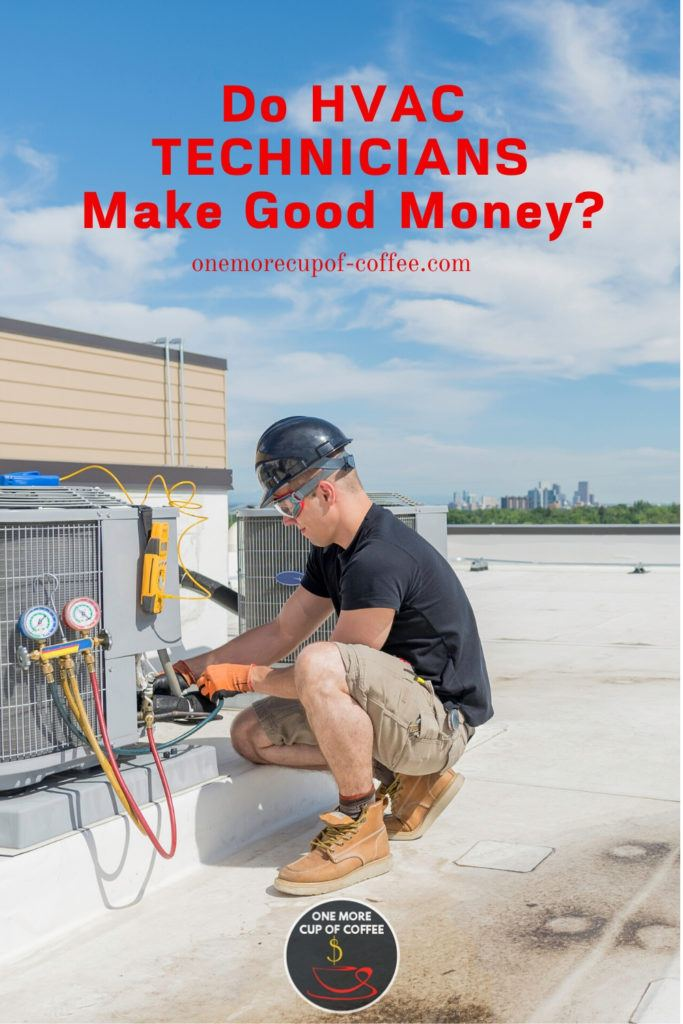 HVAC technician working at the rooftop, with red overlay text