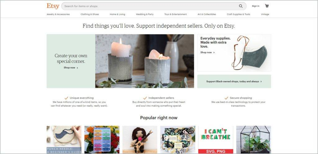 screenshot of Etsy web page