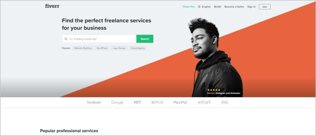 screenshot of Fiverr web page