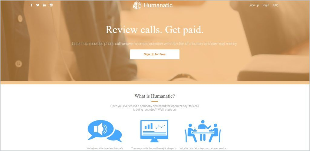 screenshot of Humanatic web page