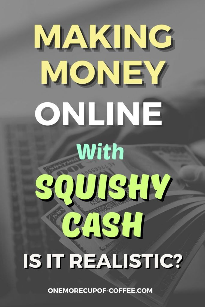 """black and white closeup image of dollar bills held in front of a keyboard, with text overlay """"Making Money Online With Squishy Cash. Is It Realistic?"""""""