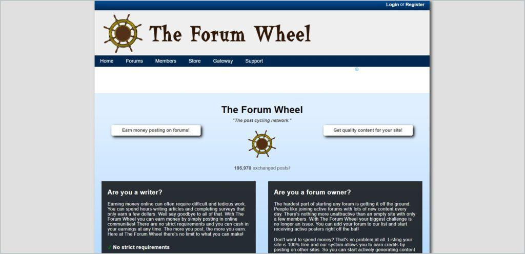 screenshot of The Forum Wheel web page