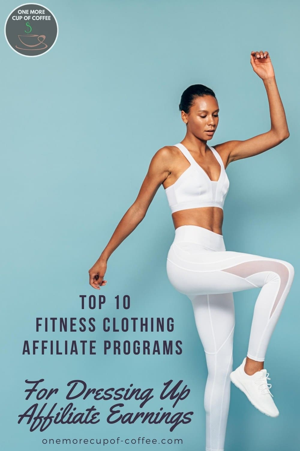 woman in white workout outfit in mid jump against a light blue background, with text overlay