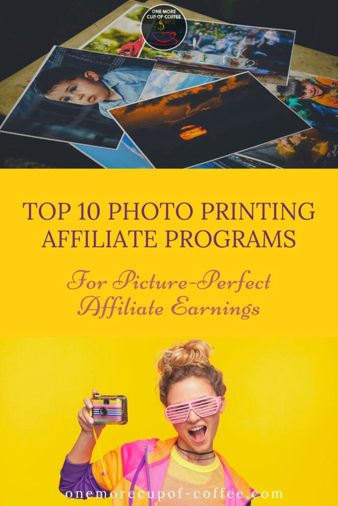 photo prints laid out at the top, girl in colorful outfit against a yellow background holding out a camera at the bottom, and text overlay at the middle part