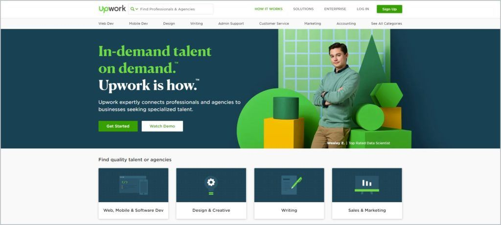 screenshot of Upwork web page