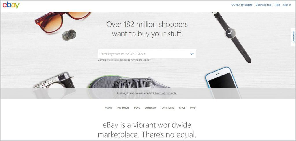 screenshot of eBay web page