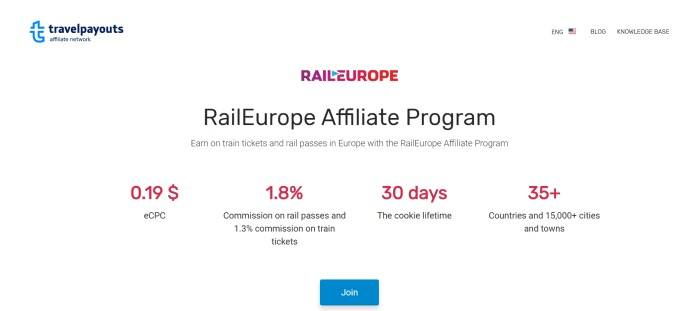 This screenshot of the affiliate page for RailEurope has a white background with a purple and red logo in the upper center, black and red text, and a blue call to action button.