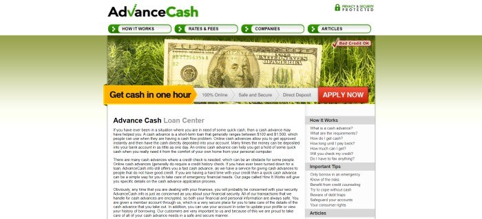This screenshot of the home page for Advance Cash has a green and white background behind a white main text section with black lettering, beneath a header showing a $100 bill lying on green grass, with a white main header with text and navigation tabs in black, white, and green.