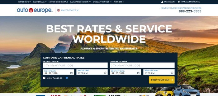 This screenshot of the home page for Auto Europe has a black navigation bar a white header, and a large photo of a pretty green landscape at sunset behind white text and a window for looking up car rental rates.