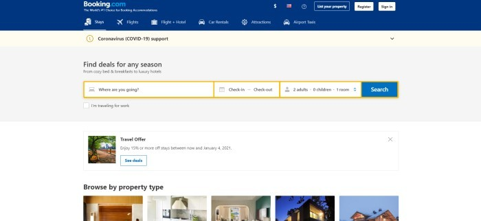 This screenshot of the home page for Booking.com has a dark blue header with white text and a gray main section with a search bar and a blue call to action button, along with a white section at the bottom of the page that has photos of different property types that customers can browse through.