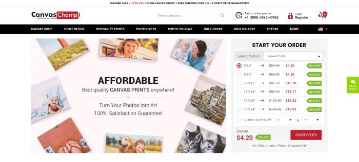 This screenshot of the home page for Canvas Champ has a white header and search bar above a black navigation bar, and a white main section with a gray ordering box with text in red and black on the right side of the page and a photo showing several different photos behind black text on the left side of the page.