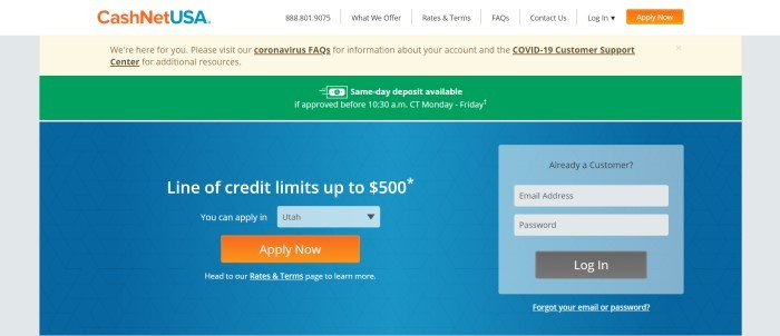 This screenshot of the home page for CashNetUSA has a white navigation bar, a pale yellow coronavirus announcement bar, a green announcement bar, and a blue main section with a pale blue login window on the right side of the page and white text on the left side of the page, with orange and brown call to action buttons.