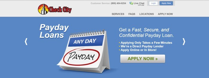 This screenshot of the home page for Check City has a light gray header with a logo in red and yellow above a blue main section with a graphic of a calendar in blue, red, and white, along with white text and a white call to action button.