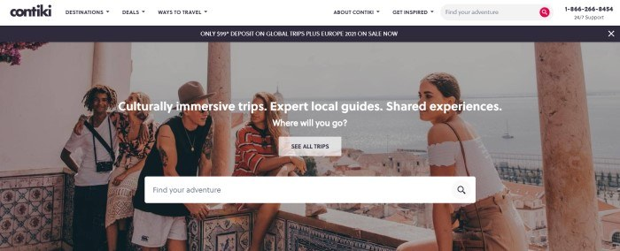 This screenshot of the home page for Contiki has a white navigation bar, a black sales bar, and a large photo showing a group of young travelers in a European city, behind a white search window and call to action button.