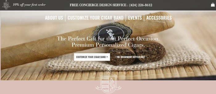 This screenshot of the home page for Custom Tobacco has a dark gray header with white text above a photo of cigars with various cigar bands, behind more white text describing the bands and a white call to action button.
