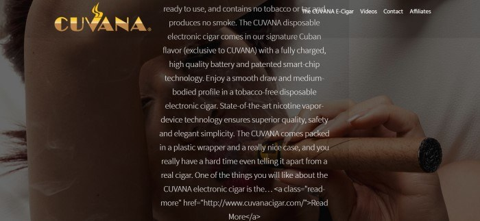 This screenshot of the home page for Cuvana E-Cigars has a dark-filtered photo of a woman smoking an electronic cigar behind white text describing it.