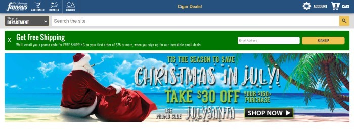 This screenshot of the home page for Famous Smoke Shop has a blue header, a white and gray search bar, a green announcement bar, and a photo of a man in a Santa suit smoking a cigar on a tropical island, along with white and green text and a black call to action button on the right side of the page.