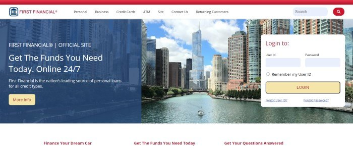 This screenshot of the home page for First Financial has a red header, a white navigation bar, and a large photo of a cityscape beneath a blue and cloudy sky, behind white text with a yellow call to action button on the left side of the page and a white login window with a yellow call to action button on the right side of the page.