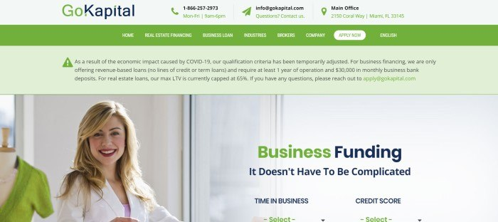 This screenshot of the home page for GoKapital has a header and navigation bar in green with text white, green, and black, above a photo of a smiling blonde woman on the left side of the page and text in green and black on the right side of the page.