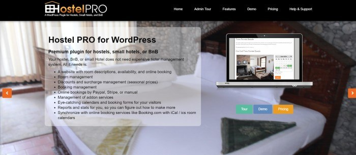 This screenshot of the home page for Hostel Pro has a black header with white text above a photo showing a hotel room behind a gray text section with black text and an insert showing a laptop with a hostel room featured on its screen, along with call to action buttons in green, blue, and orange.