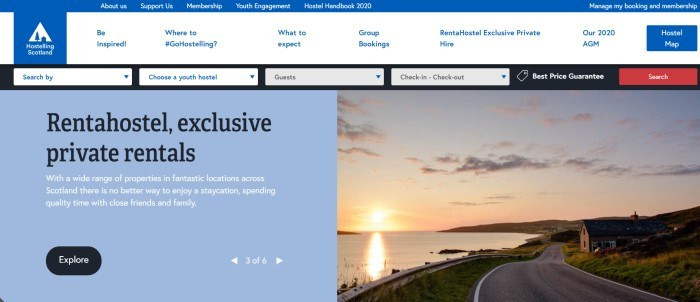 This screenshot of the home page for Hostelling Scotland has a blue and white header and navigation bar, a blue text section with text in white and black on the left side of the page, and a photo of a Scottish lake at sunset on the right side of the page, along with a black call to action button.