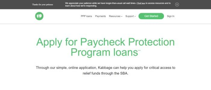 This screenshot of the home page for Kabbage has a dark gray header, a white navigation bar with black text, a green logo and a green call to action button, and a white main section with green and black text.