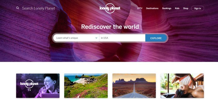 This screenshot of the home page for Lonely Planet has white text and a white and blue search window overlaying a photo of a slot canyon with purplish rocks, above a row of smaller photos showing smiling people, a seascape, and a dessert landscape.