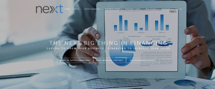 This screenshot of the home page for Next Financing has a transparent navigation bar, a black and blue logo, and a large photo showing a man's hands holding a tablet with blue bar graphs and pie charts on its screen, behind white lettering and call-to-action buttons.