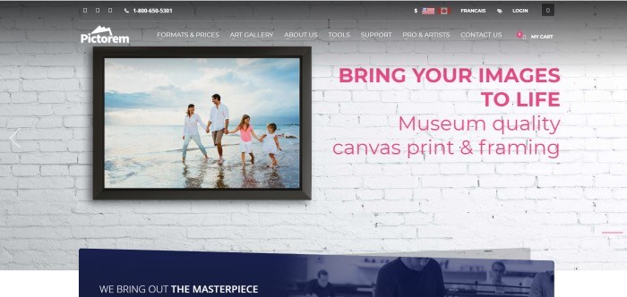 This screenshot of the home page for Pictorem has a transparent header and navigation bar with white text overlaying a large photo of a colorful photo of a family playing in the water at the edge of an ocean, which is mounted on a white brick wall on the left side of the page, as well as pink text on the right side of the page.