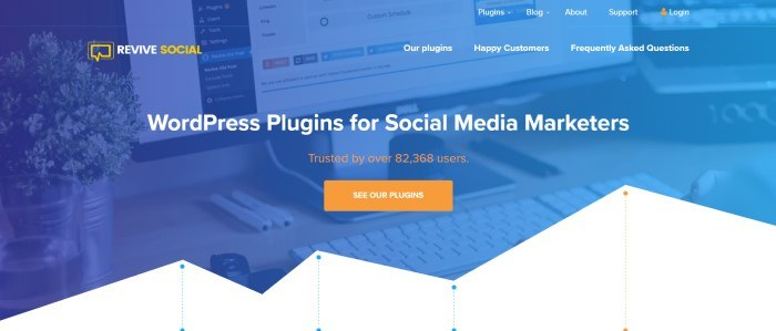 This screenshot of the home page for Revive Social has a blue-filtered photo of a computer screen containing a screenshot of a WordPress dashboard, behind white, yellow, and orange text, an orange call to action button, and a white graphics section at the bottom of the page depicting a analytics.