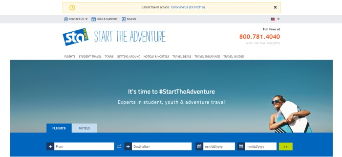 This screenshot of the home page for STA Travel has a white header and background, a gray support bar, a photo of a sky with a smiling woman with a surf board standing on the right side of the page, white text, and a blue search bar at the bottom of the page.