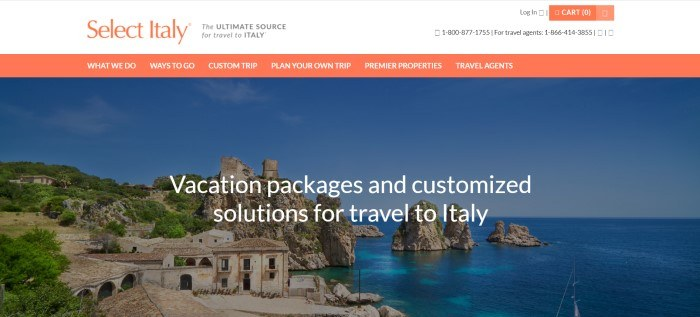 This screenshot of the home page for Select Italy has a white header with orange and black text, an orange call to action button, and a large photo of a seaside village behind white text.