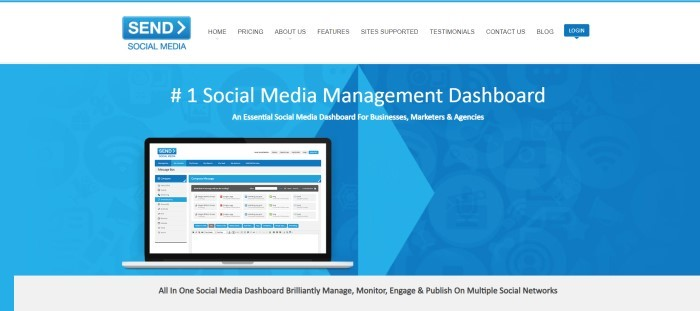 This screenshot of the home page for Send Social Media has a white navigation bar with a blue logo above a blue main section with white text, an insert of a laptop with social media data on the screen, and a gray section with black text at the bottom of the page.