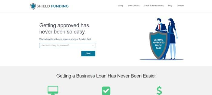This screenshot of the home page for Shield Funding has a white header and background with a teal and black logo, a teal call to action button, and a graphic on the right side of the page in real and blue, along with black text scattered throughout the rest of the page.