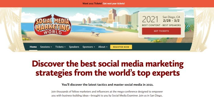 This screenshot of the homage page for Social Media Marketing World has an orange header above a graphics section showing a city scape and a beach in beige, blue, and green, along with a black navigation bar with white text, a yellow call to action button, and a white main section with text in burgundy and black.