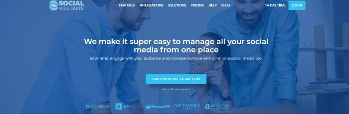 This screenshot of the home page for Social Web Suite has white text in a transparent navigation bar at the top of the page, overlaying a blue filtered photo of two smiling bearded men and a smiling dark-haired woman in business clothing, behind white text and a blue call to action button.