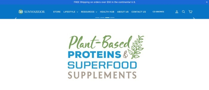 This screenshot of the home page for SunWarrior has a blue header and navigation bar above a main section with a wite background and a large text section with text in green, blue, and brown announcing plant-based proteins.