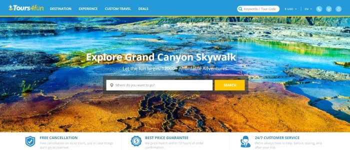 This screenshot of the home page for Tours4Fun has a blue header with white and yellow text, a photo of a hot springs with yellow, green, and blue colors, white text, and a white and yellow search window in the center of the page.