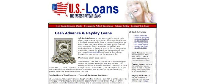 This screenshot of the home page for U.S. Cash Advance has a red and blue logo in the upper central position, next to a photo of a smiling blonde girl on a phone, along with a white background, a red and yellow navigation bar, and a large section with black text and a photo of stacks of dollar bills.