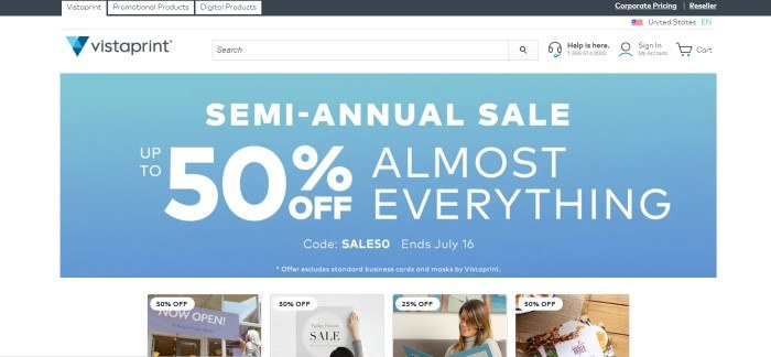 This screenshot of the home page for Vista Print has a white navigation bar at the top of the page, a white search bar and main section, and a large blue graphic section with white text in the center of the page announcing a semi-annual sale, above a row of small photos showing items on sale.