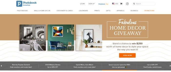 This screenshot of the home page for Photobook America has a white header and navigation bar above a large brown announcement bar and a brown and white main section, behind a row of prints near the top and a row of gray announcements with white text near the bottom of the page, and an orange call to action button on the right side of the page.