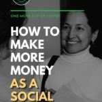 """black and white image of a female social worker in white turtle neck shirt holding papers and talking to someone, with text overlay """"How To Make More Money As A Social Worker."""""""